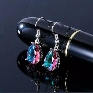 Pretty drop Mystic fire topaz earrings
